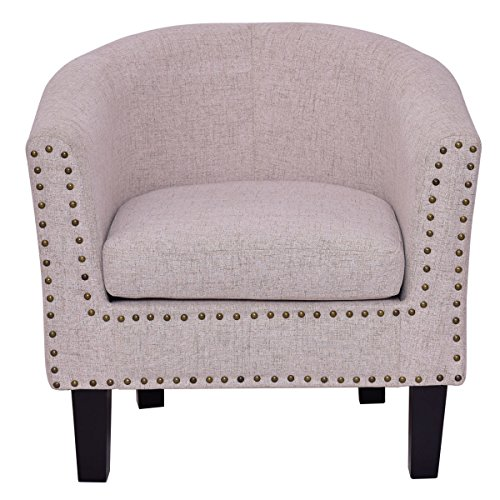 Accent Arm Chair Nailhead Modern Tub Barrel Club Seat Fabric with Cushion Beige