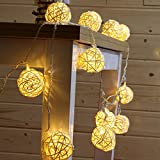 30 White Rattan Ball String Lights Battery Operated 30 Warm White Led Wedding Indoor Decoration Fairy Lights with Timer 8 Mode Idear for Bedroom Showcase Vanity Mirror Window Swing Sun Umbrella