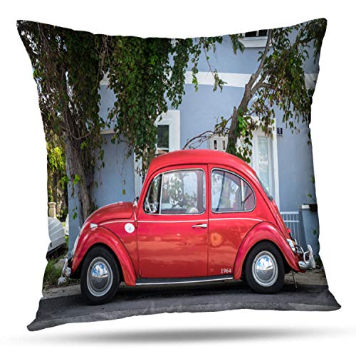 Darkchocl Decorative Throw Pillow Covers Croatia September Red Retro Car Volkswagen Beetle City Street Square Pillowcase Cushion for Couch Sofa Bed Cotton and Polyester 18