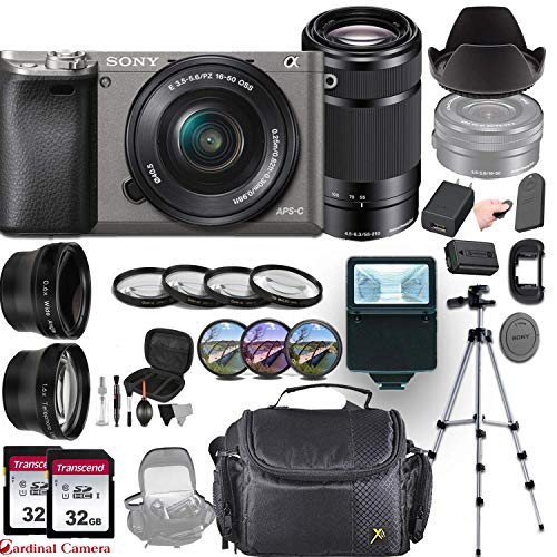 Sony Alpha a6000 (Graphite) Mirrorless E-Mount Camera with 2 Sony Lens Bundle (E 16-50mm f/3.5-5.6 OSS and E 55-210mm f/4.5-6.3 OSS) + Professional Accessory-Kit