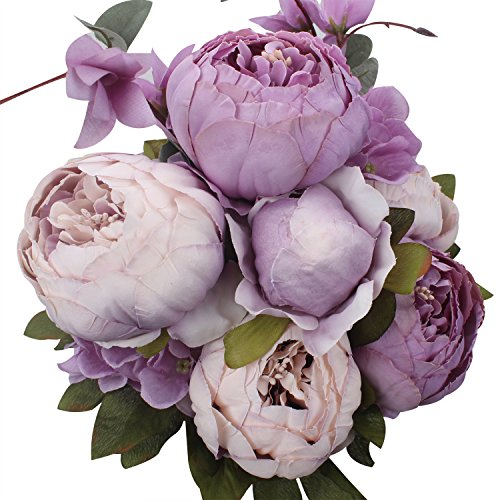 XIUER Vintage Artificial Flowers Fake Peony Flowers Bouquet Glorious Wedding Home Bridal Decoration (New Purple) (Peony Bouquet Flower)