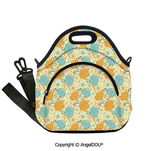 AngelDOU Floral Reusable Insulated Lunch Bags with Pocket Surreal Blooms Inspirational Flourishing Nature Essence Elements Petal Image for Students Office Worker.12.6x12.6x6.3(inch)