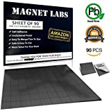 Adhesive Magnets ! Tape sheet of 90 Magnetic squares for crafts 20x 20x 2mm Anisotropic stronger Magnet (Hold up to 3 Ounces) Mini Thin Small and Sticky ! Used as Magnetic roll, strip and stickers