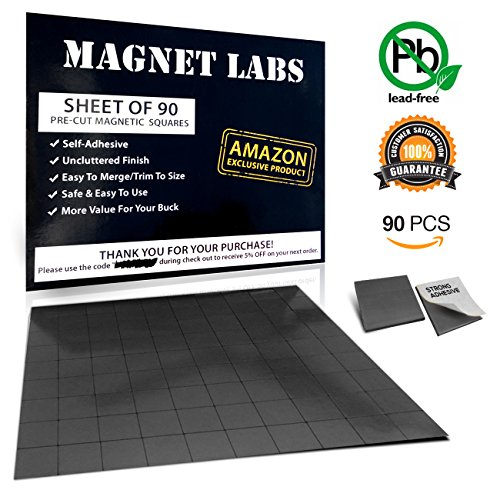 Adhesive Magnets ! Tape sheet of 90 Magnetic squares for crafts 20x 20x 2mm Anisotropic stronger Magnet (Hold up to 3 Ounces) Mini Thin Small and Sticky ! Used as Magnetic roll, strip and stickers ()