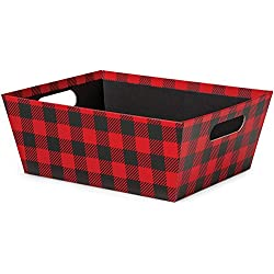"Pack of 3, Buffalo Plaid X-Large Wide Base Market Trays 9.5 x 12"" x 4.5"" Made From Heavy Paperboard Stock & Work for Gourmet Gift Baskets, Food Baskets or Even As Home Decor Decorative Accessory"