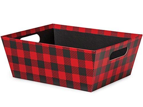 Pack of 3, Buffalo Plaid X-Large Wide Base Market Trays 9.5 x 12