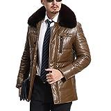 YANXH Large fur collar Leather winter The New Men's Thickening leather jacket coat , khaki , xxl