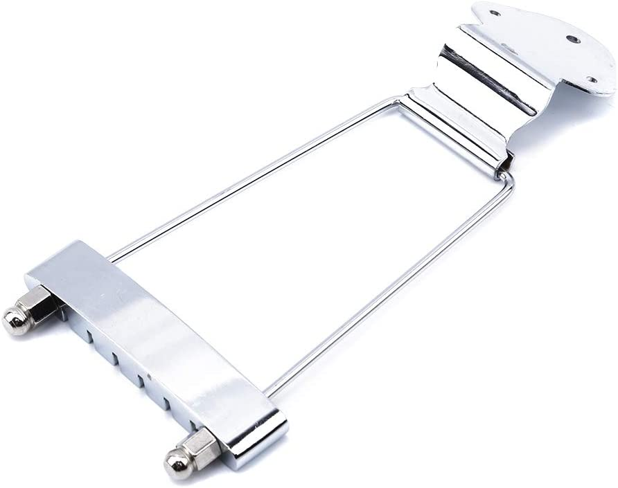 Guoshang Guitar Tailpiece Trapeze Open Frame Bridge Chrome 6 String for Archtop Guitar Electric Guitar Replacement Parts