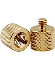 XINJUE 2 Pieces, 3/8 Internal Thread to 1/4 External Thread Adapter, 1/4 to 3/8, Microphone Holder, Camera Tripod Adapter/Camera Accessories. (Solid Brass)