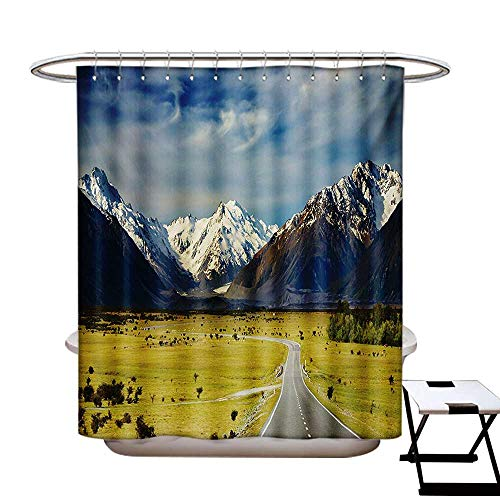 (BlountDecor Mountain Shower Curtain Collection by Landscape with Road and Snow Capped Mountains Southern Alps New Zealand Patterned Shower Curtain W36 x L72 Navy Blue White Olive)