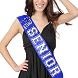 Class Of 2019 - Senior White Glitter & Rhinestone Blue Satin Sash - Senior Night Supplies and Gifts - Blue