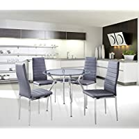 5-Piece Home Dining Kitchen Furniture Set, Metal Frame Table with Glass Top and 4 Chairs, Gray