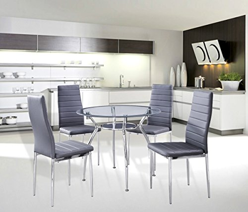 5 Piece Home Dining Kitchen Furniture Set Metal Frame Table With Glass Top And 4 Chairs Gray