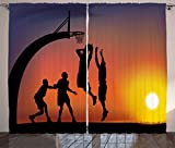 Ambesonne Teen Room Decor Curtains, Boys Playing Basketball at Sunset Horizon Sky Dramatic Scene, Living Room Bedroom Window Drapes 2 Panel Set, 108 W X 63 L Inches, Dark Coral Black Yellow