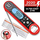 Instant Read Meat Thermometer, Olivivi Waterproof Ultra Fast LCD Cooking Thermometer, Digital Food Thermometer for Kitchen, Outdoor Cooking, BBQ, Candy, Milk, and Grill (red)