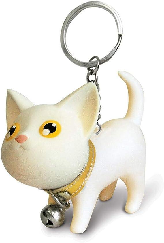 Schlüsselanhänger Katze rosa weiß süss Blume Haustier gold Anhänger Keychain