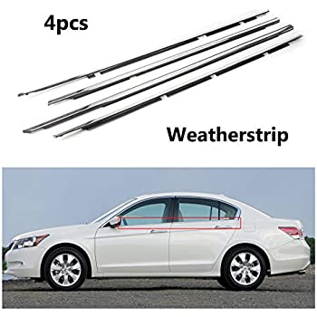 Bigbox Weatherstrip Window Seal for Honda Accord 2003 2004 2005 2006 2007 Chrome Door Outside Window Moulding Trim Seal Belt. 4 PCS