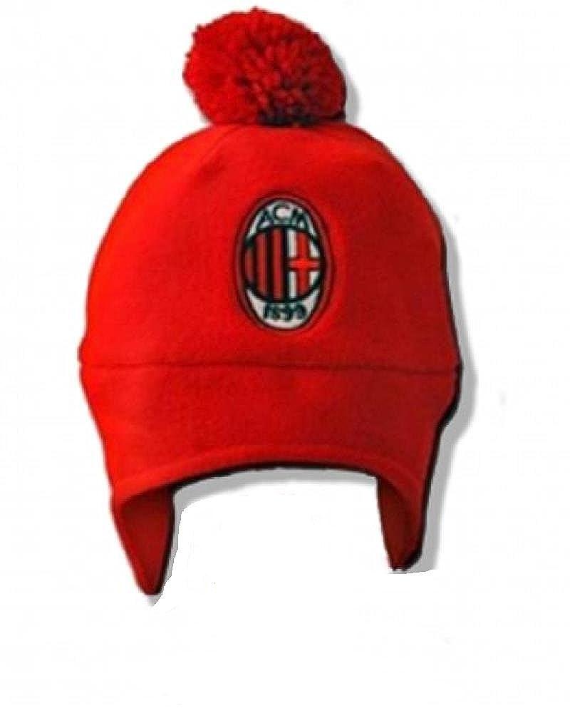 Cappellino ponpon cuffia 2/4 anni in pile rosso nero ufficiale A.C.Milan *01120 A.C. Milan MIL041
