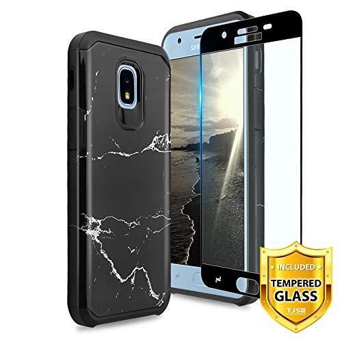 TJS Galaxy J7 2018/J7 Refine/J7 Star/J7 Eon/J7 TOP/J7 Aero/J7 Crown/J7 Aura/J7 V 2nd Gen Case, [Full Coverage Tempered Glass Screen Protector] Dual Layer Hybrid Shockproof Marble Phone Case (Black)