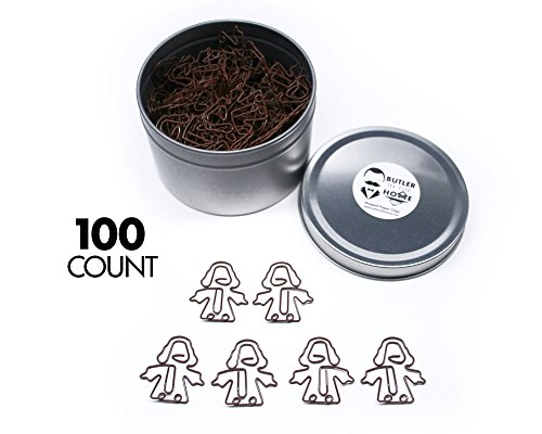 Butler in the Home Jesus Christ Shaped Paper Clips Great For Paper Clip Collectors or Religious Gift - Comes in Round Tin with Lid and Gift Box (100 Count Brown) (Christ Clip Jesus)