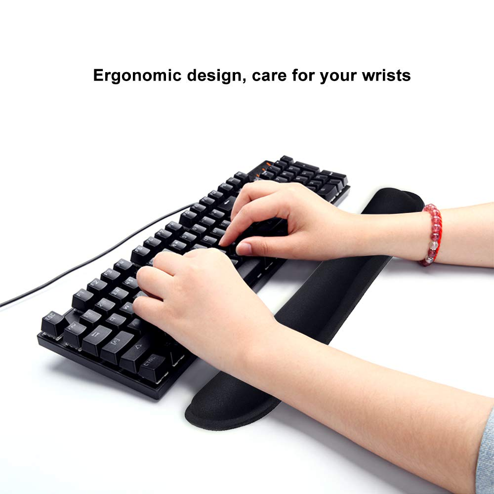 Poualss Memory Foam Set Keyboard and Mouse Wrist Pad Rest,Cushion Support for Office,Gaming,Computer,Laptop and Mac,Pain Relief& Easy Typing