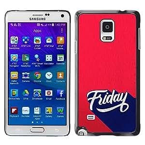 Caucho caso de Shell duro de la cubierta de accesorios de protección BY RAYDREAMMM - Samsung Galaxy Note 4 SM-N910 - Friday Sign Retro Style