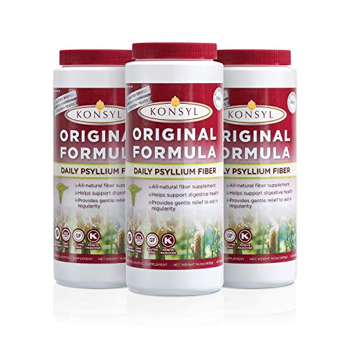 Konsyl - Original Formula - Psyllium Husk Daily Fiber Supplement Powder All-Natural, Soluble, Gluten Free and Sugar Free | 3 Pack 402g ()