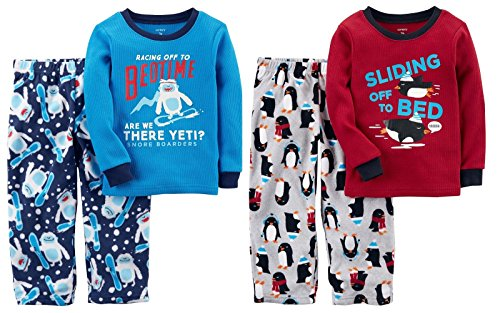 Carters Little Boys Toddler 4 Piece Long Sleeve Thermal Top and Fleece Pants Pajama Set (Blue Yeti and Red Penguins, 3T)