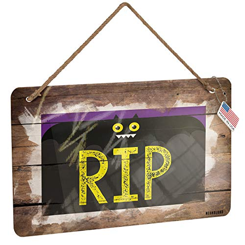 NEONBLOND Metal Sign RIP Halloween Funny Bat Christmas Wood Print