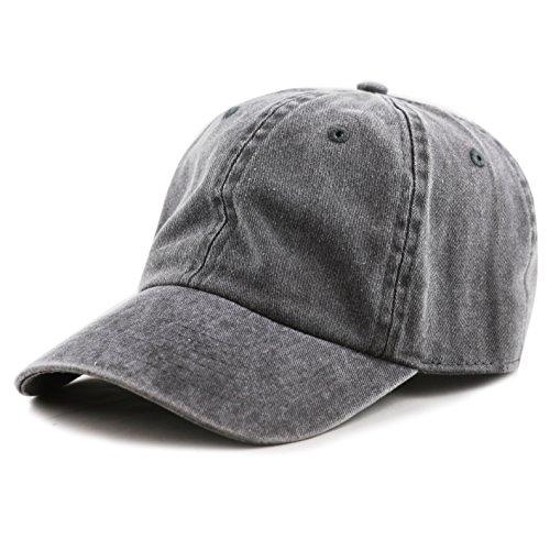 THE HAT DEPOT 100% Cotton Pigment Dyed Low Profile Six Panel Cap Hat (Black) Pigment Cap
