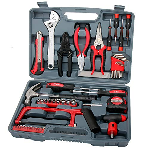 """(Hi-Spec 53 Piece Household Tool Kit with Claw Hammer, Hack Saw, Wire Strippers, Crimpers, 1/4"""" Drive Sockets, Combination Pliers & Ratcheting Bit Driver - Automotive, Electrical, Woodworking Tool)"""