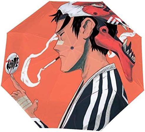 Paraguas Plegable Japón para Hombre, Estilo japonés, con máscara y Cierre automático, Resistente al Viento, Ligero y Compacto para Exteriores, Sol y Lluvia