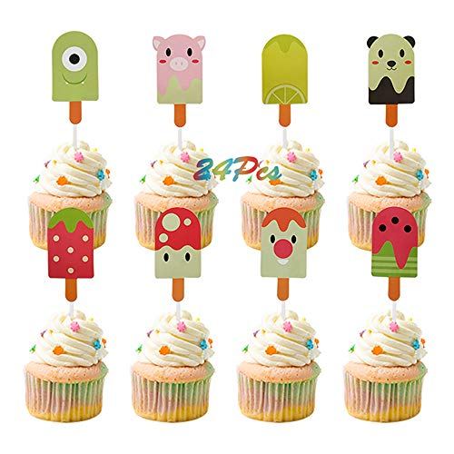 Summer Creative Popsicle Shape Cupcake Toppers Strawberry Panda Pig Watermelon Snowman Cake Picks Treats for Hawaii Tropical Pool Themed Baby Birthday Party -