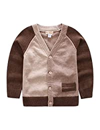 JGJSTAR Boys Long Sleeve V Neck Knit Cardigan Sweater Cotton Casual School Uniforms Sweater Brown