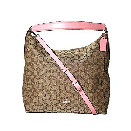 (Coach Outline Signature Celeste Hobo Shoulder Crossbody Bag Purse Handbag (Khaki/Blush))