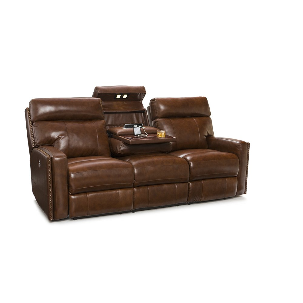 Lane Lombardo Home Theater Multimedia Leather Sofa with Power Recline, Power Headrests, Fold Down Table, and USB Charging (Brown)