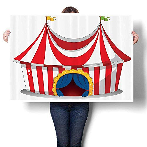 Panels Wall Art Waves Painting on Canvas Retro Circus with Flag Nostalgic Fun Festival Carnival Venue Artist Paintings for Wall Decor,20