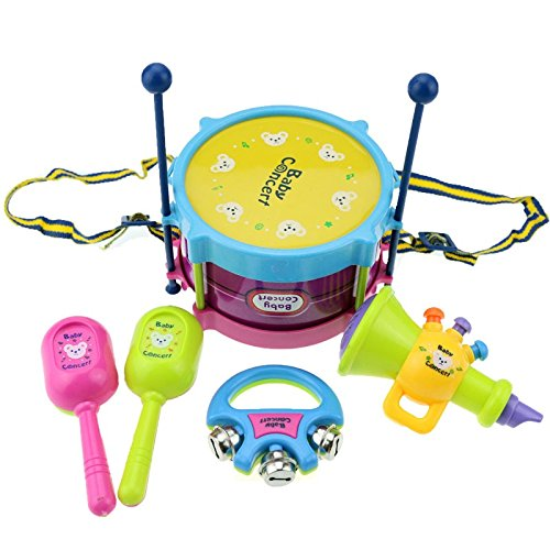 Baby Concerts Children Toy Gift Set 5pcs Drum Trumpet Cabasa Handbell Musical Instruments Band Kit Toy - Bell Kit Concert Drums