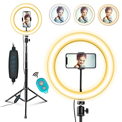 Ring Light with Tripod Stand and Phone Holder for TikTok/YouTube/Photography/Makeup/Live, MOUNTDOG LED Selfie Light for iPhone Android Phone, 3 Light Modes & 11 Brightness Level