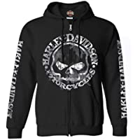 Harley-Davidson Men's Zippered Sweatshirt Jacket, Willie G Skull, Black 30296647
