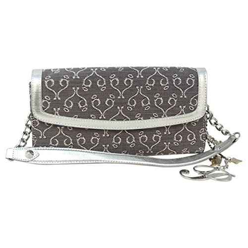 Paris Hilton ACC-1013 Mirrored P Logo Style Desire Line Hand Bag for Women - White44; Gray & Silver
