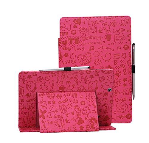 i-UniK 2016 version Nextbook Ares 10A Compatible Model #NX16A10132S Tablet Case Cover [Bonus Stylus Pen] (Cute Pink)