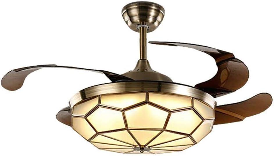 LAZ Ventilador de Techo Invisible Luz Tradicional Medieval LED Ventilador Araña Acabado en Bronce frotado con Control Remoto para la Sala de Estar Dormitorio Restaurante Sala de Estudio