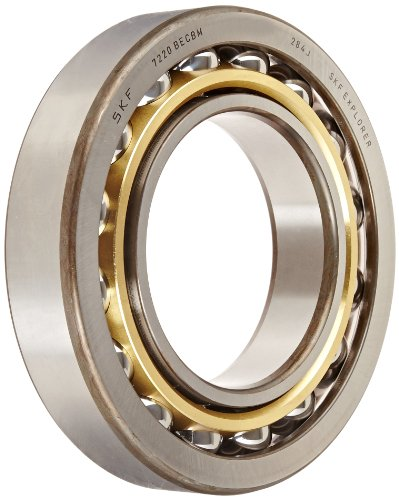 SKF 7220 BECBM Light Series Angular Contact Ball Bearing, Universal Mounting, ABEC 1 Precision, 40° Contact Angle, Open, Brass Cage, Normal Clearance, 100mm Bore, 180mm OD, 34mm Width, 122000.0 pounds Static Load Capacity, 135000.00 pounds Dynamic Load Capacity (Angular Contact Bearing Becbm)