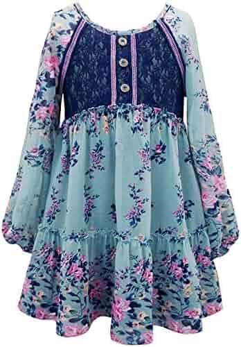 4eddf61a0ad6 Truly Me Tween Girls 7-16 Long Sleeve Green/Multi Floral Chiffion Print  Tunic