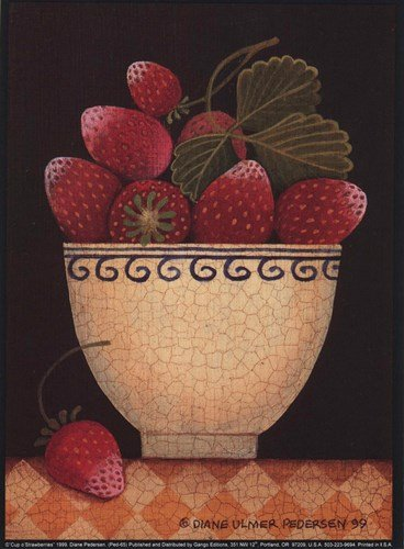 Cup O'Strawberries by Diane Ulmer Pedersen - 5.25x7.25 Inches - Art Print Poster