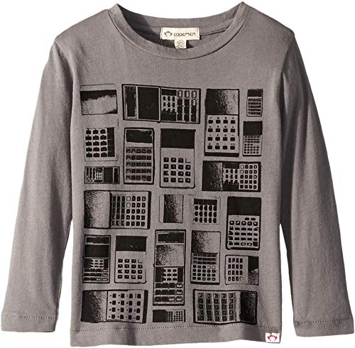 Appaman Kids Boy's Super Soft Long Sleeve Tee with Calculator Print (Toddler/Little Kids/Big Kids) Smoked Pearl 6 Little Kids (Knit Calculator)