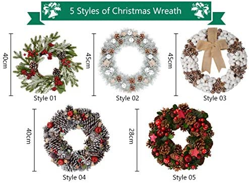1Pc 45 cm// 17.72 Inch Christmas Wreath Pine Cone Bell with White Glitter