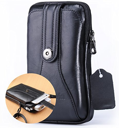iPhone 8 Plus 7 Plus Holster Case with Strap,Small Crossbody Bag for Men Messenger Bag Belt Clip/Loop Holster Mens Purse Leather Carrying Case for Galaxy S8 Plus LG V30/G6+Hwin Keyring-Black ()