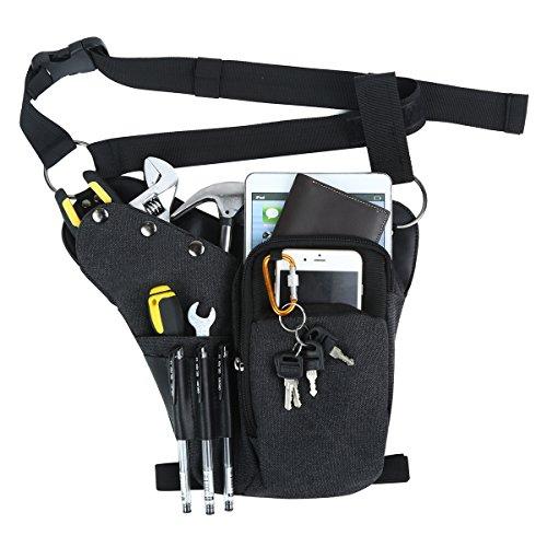Eshow Mens Tools Bags Drop Leg Pouch Tactical Leg Bag Purse Thigh Bags Bike Cycling Hip Bag Canvas (Black04)